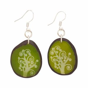 Distinctive Engraved Tagua Nut Earrings - Magic Forest Earrings