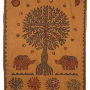 """Earth Tones Rectangular Appliqued Cotton Wall Hanging 48""""x38"""" - Memory Tree Wall Hanging"""