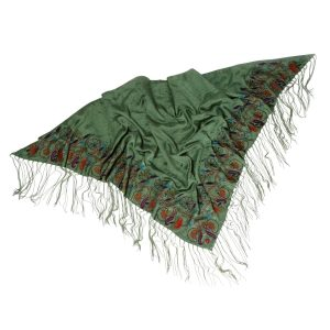 Embroidered Silk Shawl With Fringes - Enchanted Forest Shawl
