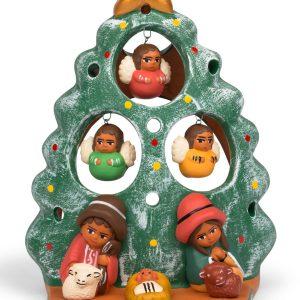 Fluttering Angels Ceramic Nativity - Tealight Angel Tree Nativity