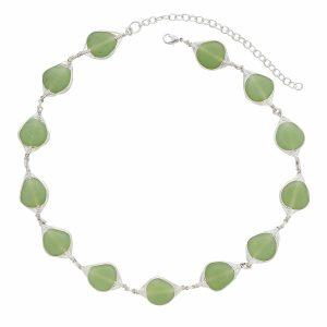 Glass Beads Necklace - Sea Foam Necklace