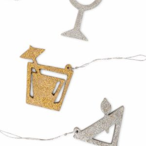 Gold And Silver Wood Ornament - Revelry Ornament Set