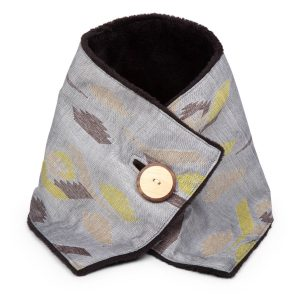 Gray And Brown Dhaka Weave Cotton Cowl - Misty Mountain Button Cowl