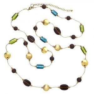 Handmade Glass Bronze-Colored Metal Necklace - Aegean Sea Necklace