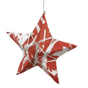 Handmade Paper and String Ornament - Silver Strands Star Ornament
