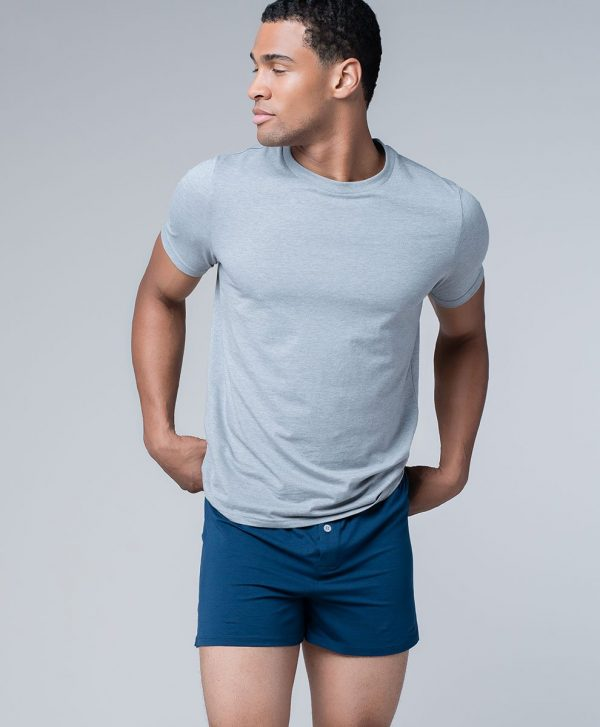 Men's Heather Grey/Navy Knit Boxers Two-Pack XL