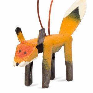 Orange And Black Painted Cut Metal Ornament - Cut Metal Fox Ornament