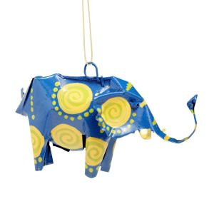 Recycled Material Elephant Ornament - Safari Can-imal Elephant Ornament