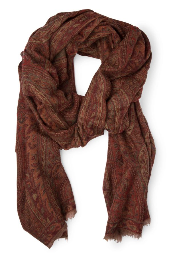 Rust And Red Rounded Wool Scarf - Legacy Jacquard Wool Scarf