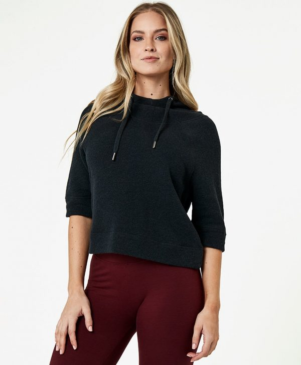 Women's Charcoal Heather Cropped Funnel Neck Pullover 2X
