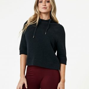 Women's Charcoal Heather Cropped Funnel Neck Pullover L