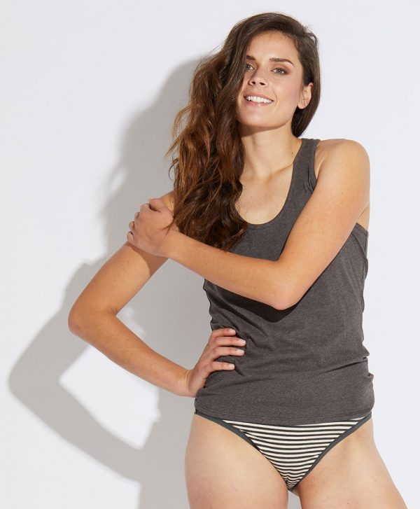 Women's Charcoal Heather Stripe Low-Rise Bikini XL