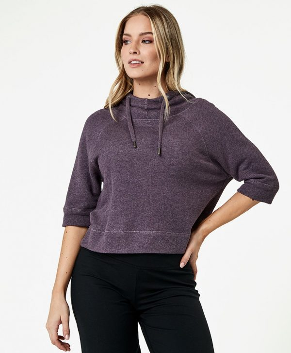 Women's Thistle Heather Cropped Funnel Neck Pullover 2X